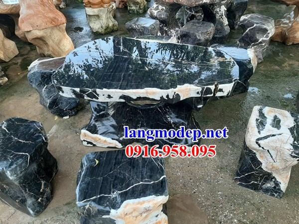 Mẫu bộ bàn ghế đá xanh ninh bình tự nhiên nguyên khối đẹp