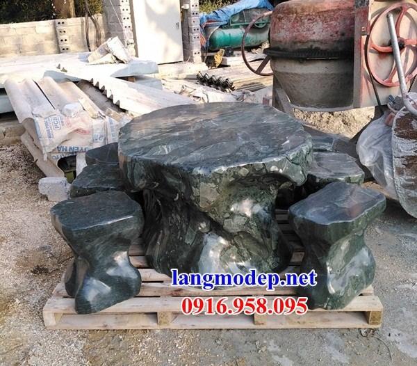 Mẫu bộ bàn ghế đá xanh thanh hóa tự nhiên nguyên khối đẹp