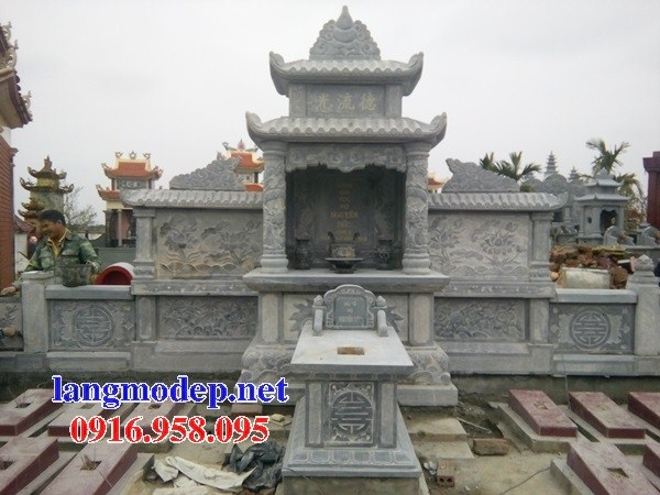 Mẫu củng thờ chung nghĩa trang gia đình dòng họ bằng đá chạm khắc hoa văn tinh xảo tại Kiên Giang