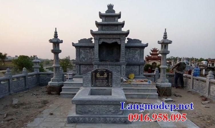 Mẫu củng thờ chung nghĩa trang gia đình dòng họ bằng đá thiết kế hiện đại tại Kiên Giang