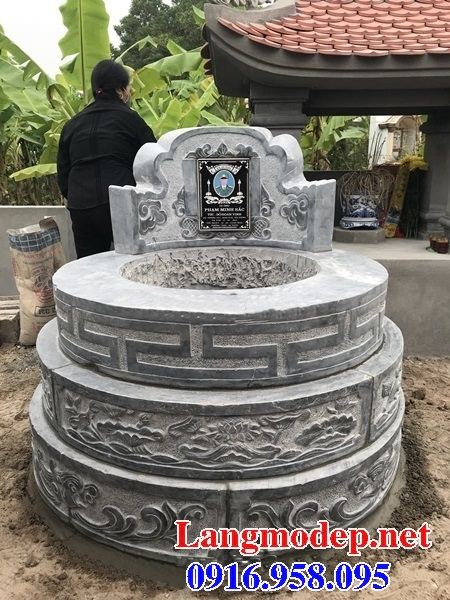 Bán sẵn mộ tam cấp tròn bằng đá kích thước chuẩn phong thủy đẹp tại Ninh Bình