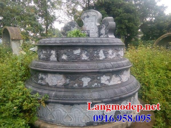 Bán sẵn mộ tam cấp tròn bằng đá xanh nguyên khối đẹp tại Ninh Bình