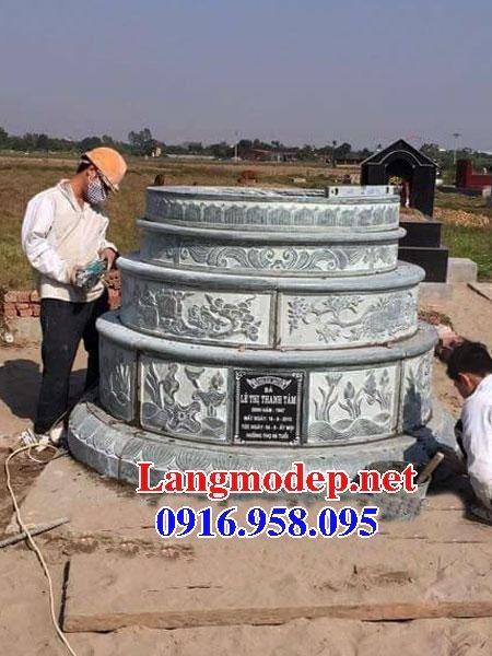 Bán sẵn mộ tròn bằng đá chạm khắc hoa văn tinh xảo đẹp tại Ninh Bình