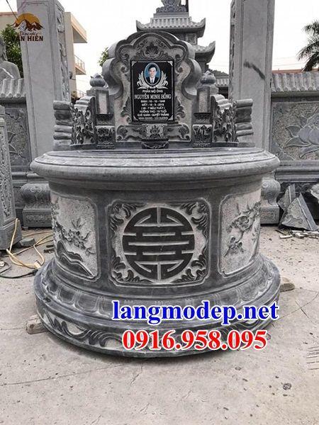 Hình ảnh mộ tròn bằng đá xanh đen cao cấp bán tại Cao Bằng