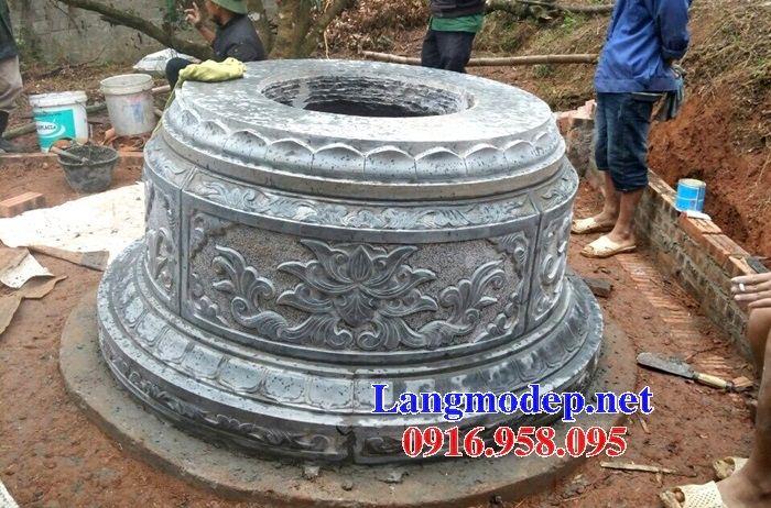 Mẫu lăng mộ tròn bằng đá thiết kế đơn giản bán tại Tiền Giang