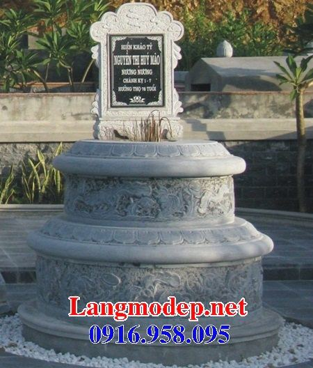 Mẫu mộ tròn bán sẵn bằng đá kích thước chuẩn phong thủy tại Kiên Giang