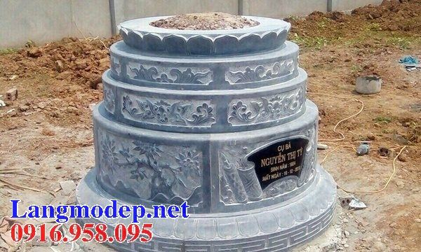 Mẫu mộ tròn cất tro cốt bằng đá xanh Thanh Hóa tại Bến Tre