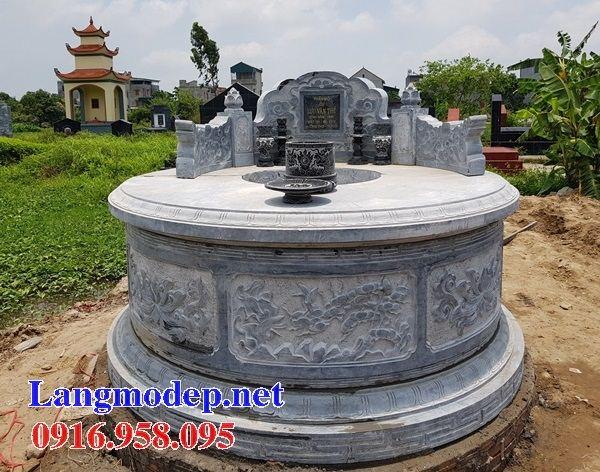 Mẫu mộ tròn thiết kế đẹp bằng đá điêu khắc rồng tại Đồng Nai