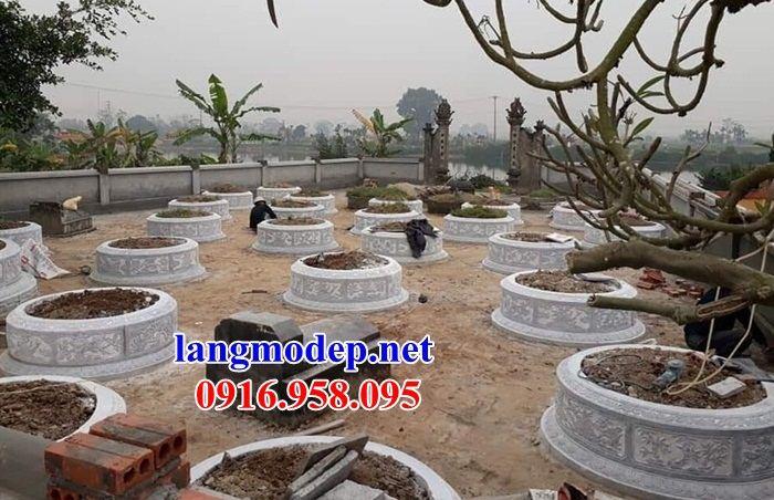 Mẫu mộ tròn thiết kế đẹp bằng đá chạm khắc hoa văn tinh xảo tại Đồng Nai