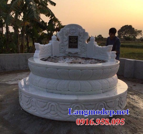Mẫu mộ tròn thiết kế đẹp bằng đá trắng cao cấp tại Đồng Nai