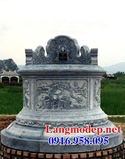 Mộ cụ tổ tròn bằng đá chạm trổ tứ quý đẹp tại Vĩnh Long