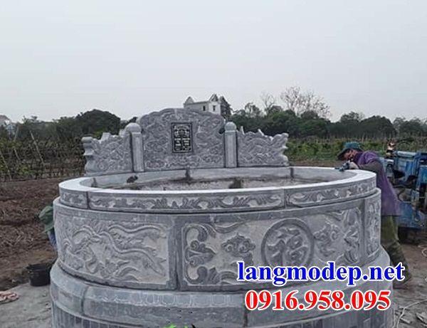 Mộ tròn bằng đá nguyên khối điêu khắc rồng bán tại Bạc Liêu