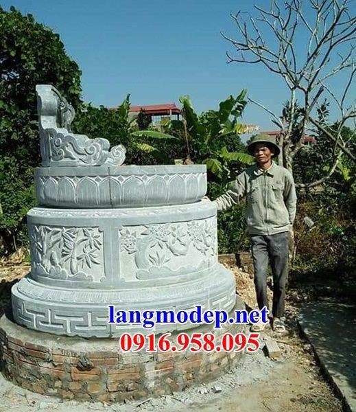 Mộ tròn bằng đá nguyên khối chạm trổ tứ quý bán tại Bạc Liêu