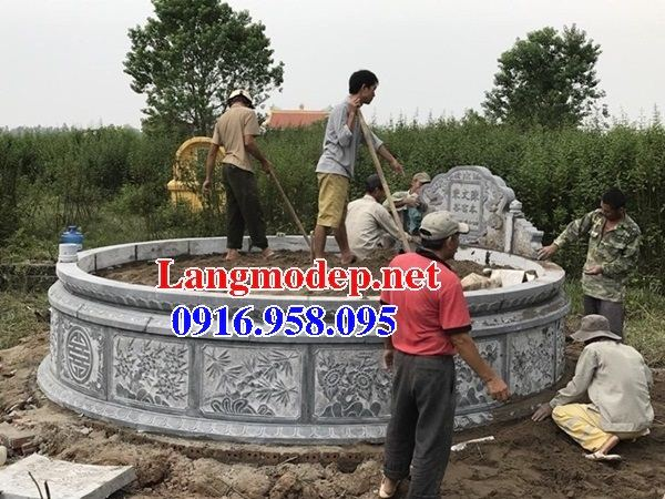 Mộ tròn chạm khắc tinh xảo bằng đá mỹ nghệ đẹp tại Đồng Tháp