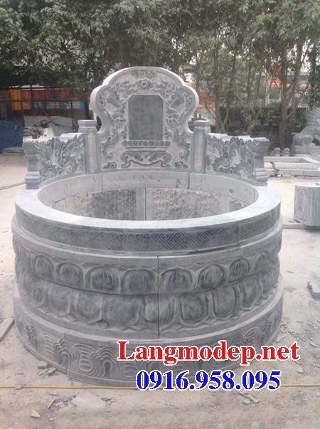 Mộ tròn chạm khắc tinh xảo bằng đá xanh nguyên khối đẹp tại Đồng Tháp