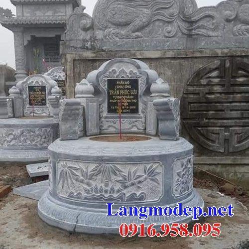 Xây làm mộ tròn bằng đá chạm trổ tứ quý đẹp tại Long An
