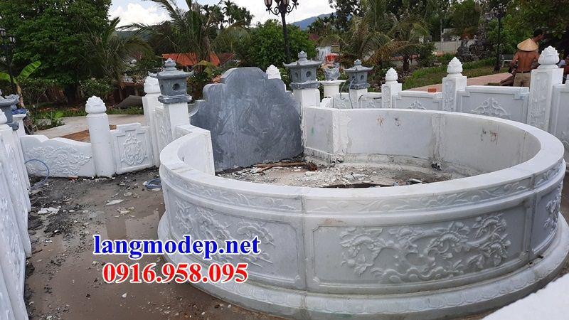 Xây làm mộ tròn bằng đá trắng cao cấp đẹp tại Long An