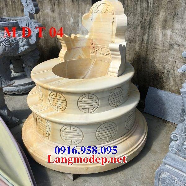Xây làm mộ tròn bằng đá vàng nguyên khối đẹp tại Long An