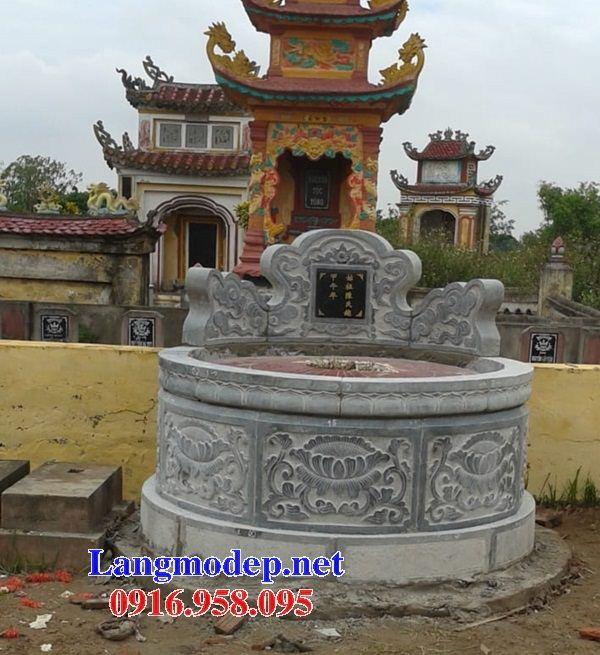 Xây làm mộ tròn bằng đá xanh tự nhiên đẹp tại Long An