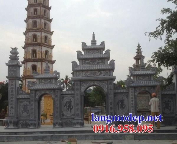 Cổng tam quan tứ trụ đền miếu bằng đá xanh thiết kế hiện đại bán tại Phú Thọ