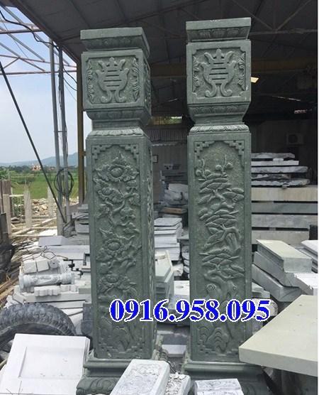 Mẫu cột đồng trụ bằng đá xanh rêu nguyên khối đẹp bán tại Gia Lai