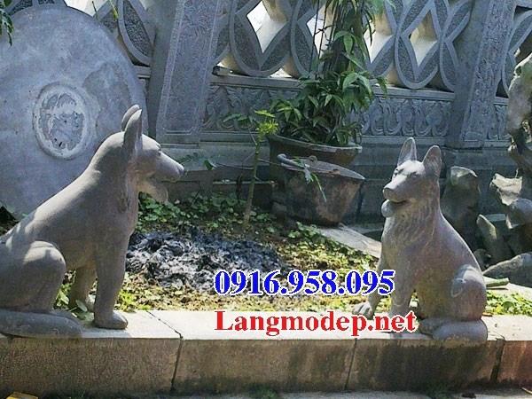 Mẫu chó phong thủy canh cổng đình chùa bằng đá mỹ nghệ Ninh Bình đẹp tại Điện Biên