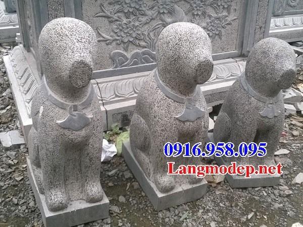 Mẫu chó phong thủy canh cổng từ đường bằng đá bán báo giá đẹp tại Điện Biên