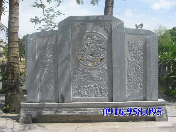 Mẫu cuốn thư bức bình phong chùa miếu bằng đá nguyên khối đẹp nhất năm 2021