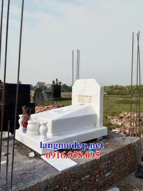 Mẫu mộ không mái đơn giản bằng đá ttrắng cao cấp bán chạy nhất năm 2021