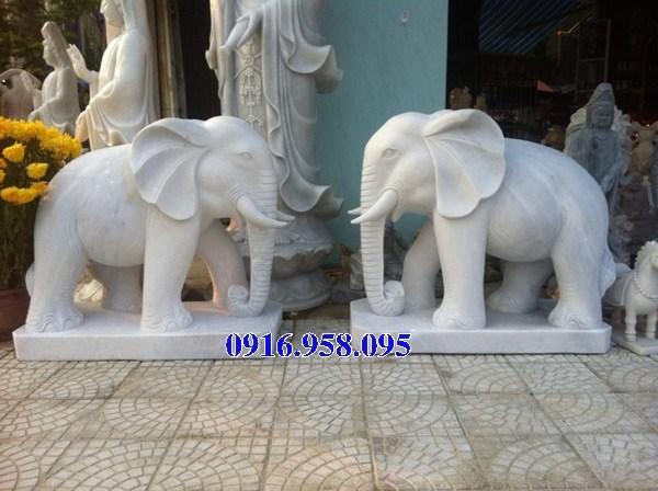 Mẫu voi phong thủy nhà thờ họ bằng đá trắng cao cấp đẹp nhất năm 2021