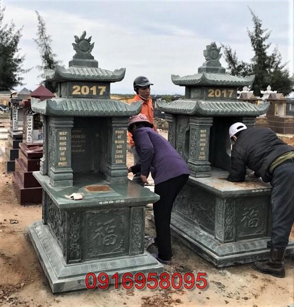 Mẫu mộ đá xanh rêu 2 mái đẹp